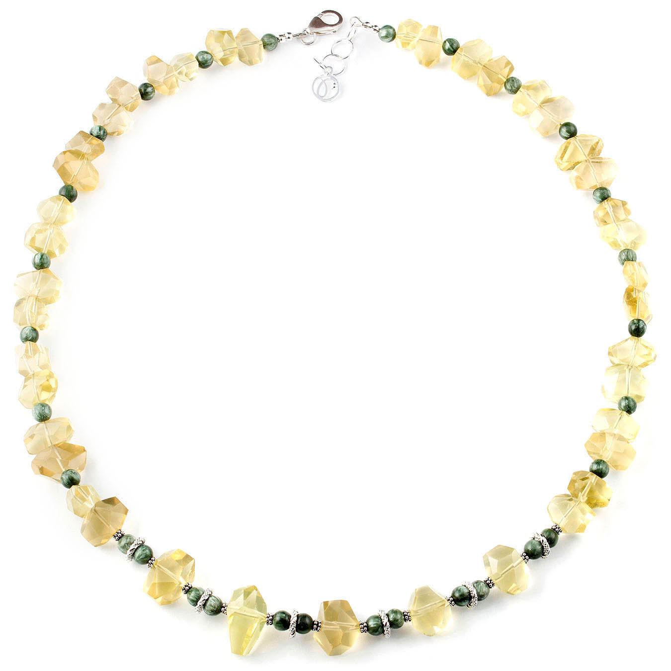 Handcrafted bead statement necklace made with quartz and seraphinite