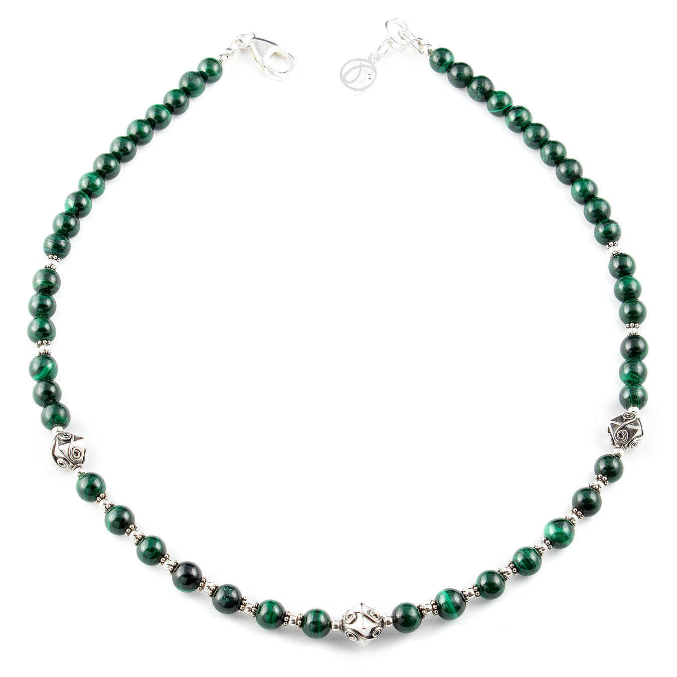Gemstone necklace se t made with malachite and bali bicone silver bead