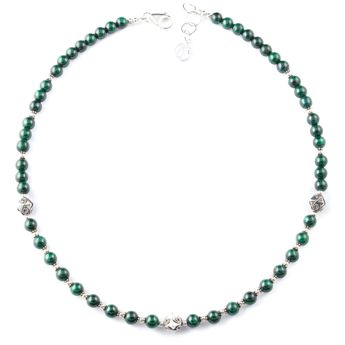 Beaded jewelry semi-precious necklace made with malachite stones