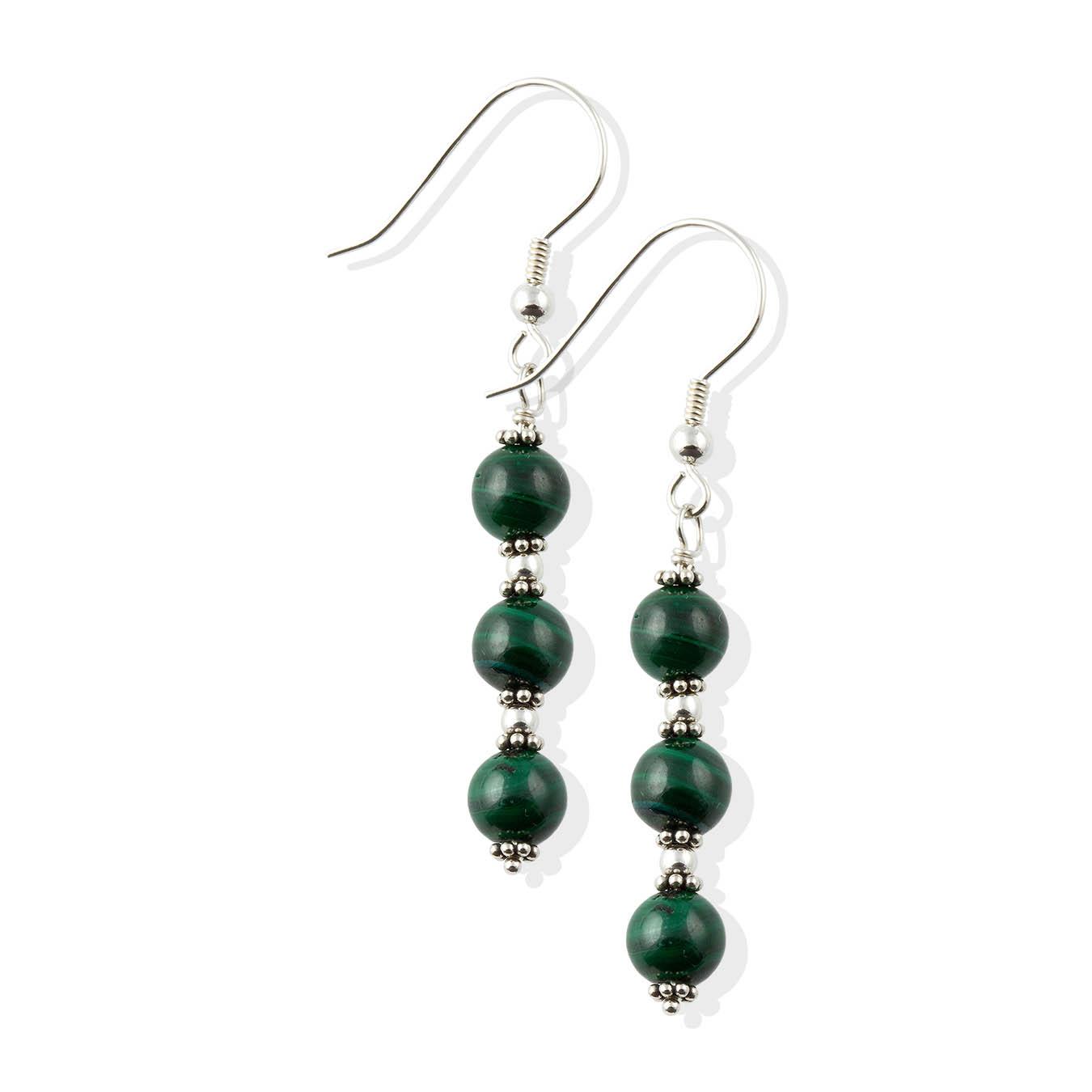 Handmade malachite gemstones jewelry necklace with bali silver beads