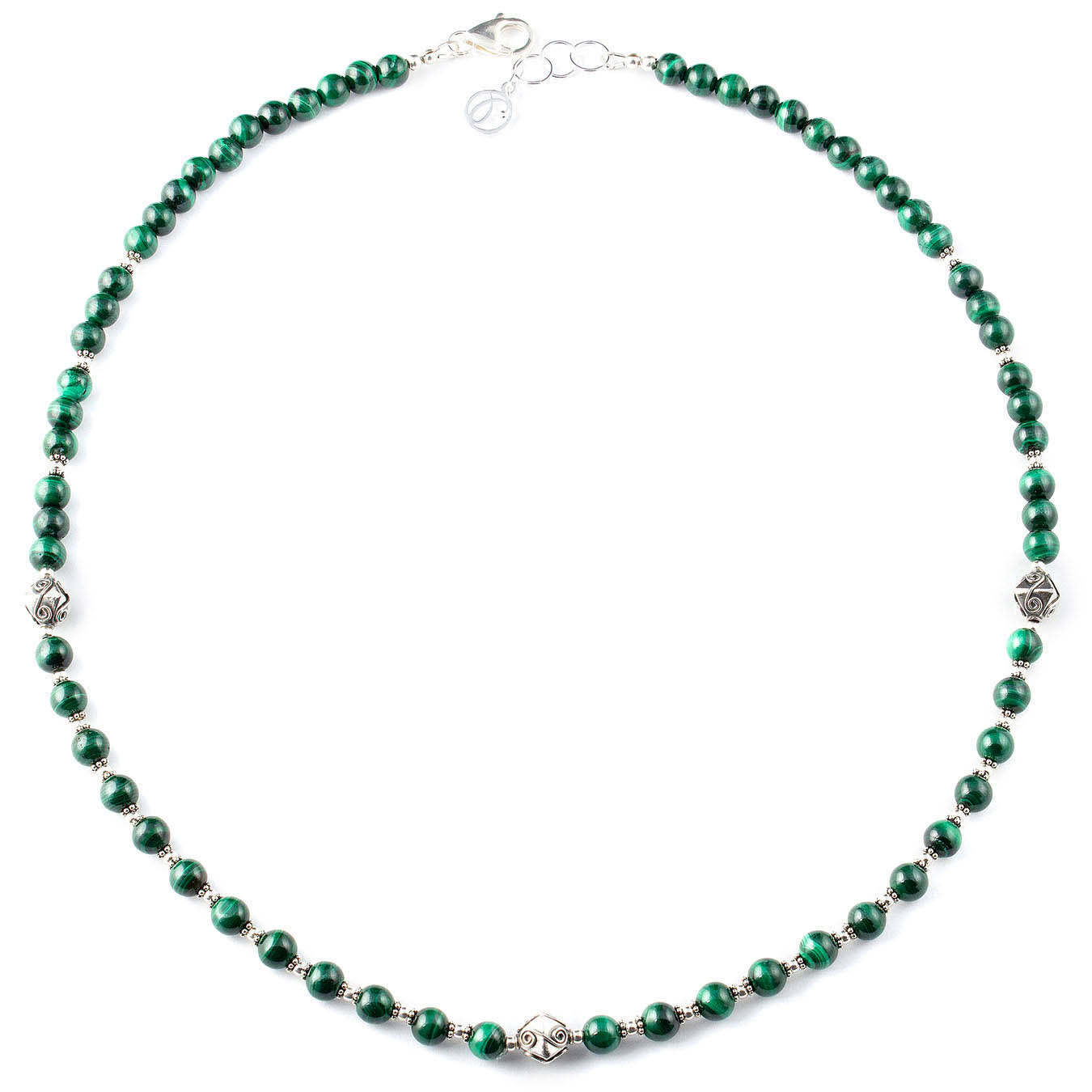 Handcrafted necklace made with green malachite stones and bali silver