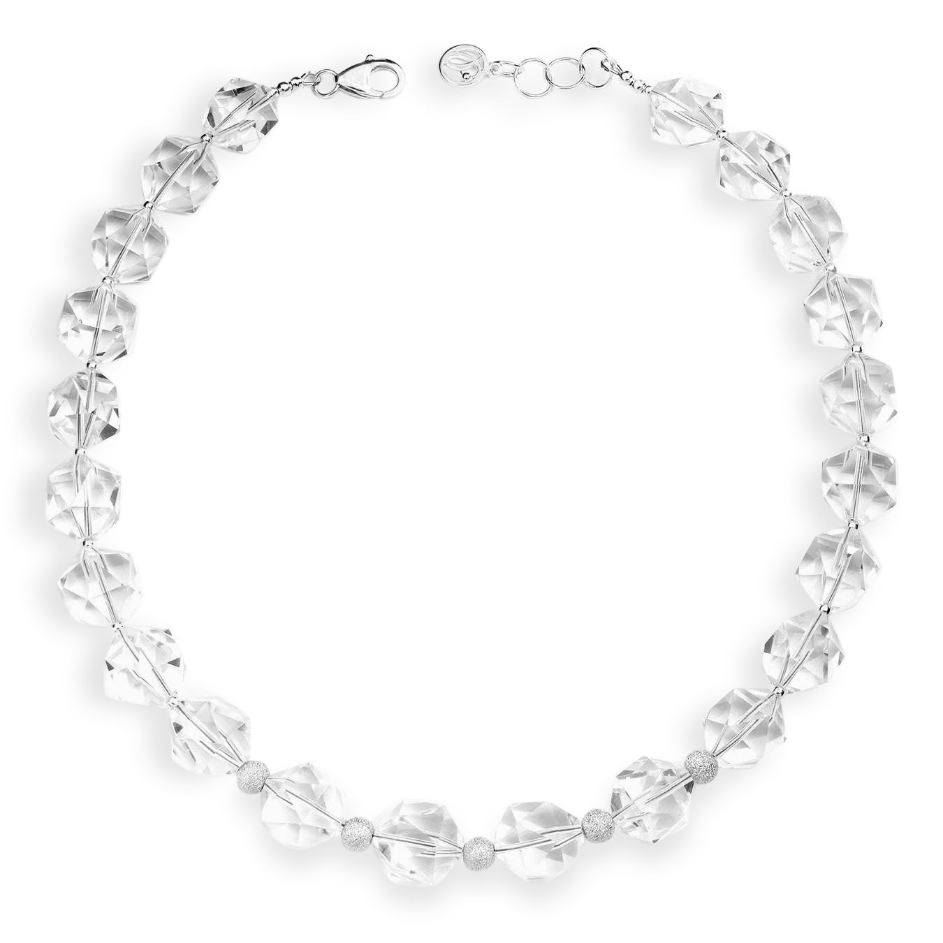 Choker style necklace made of clear quartz and stardust silver beads