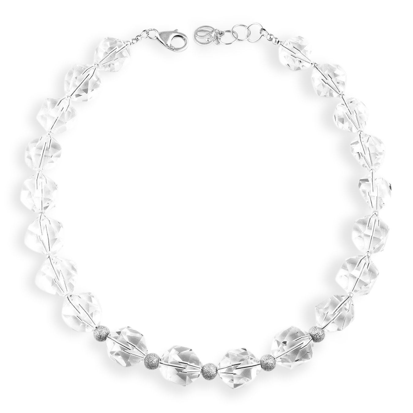 Handcrafted choker style bead jewelry made with faceted rock crystal
