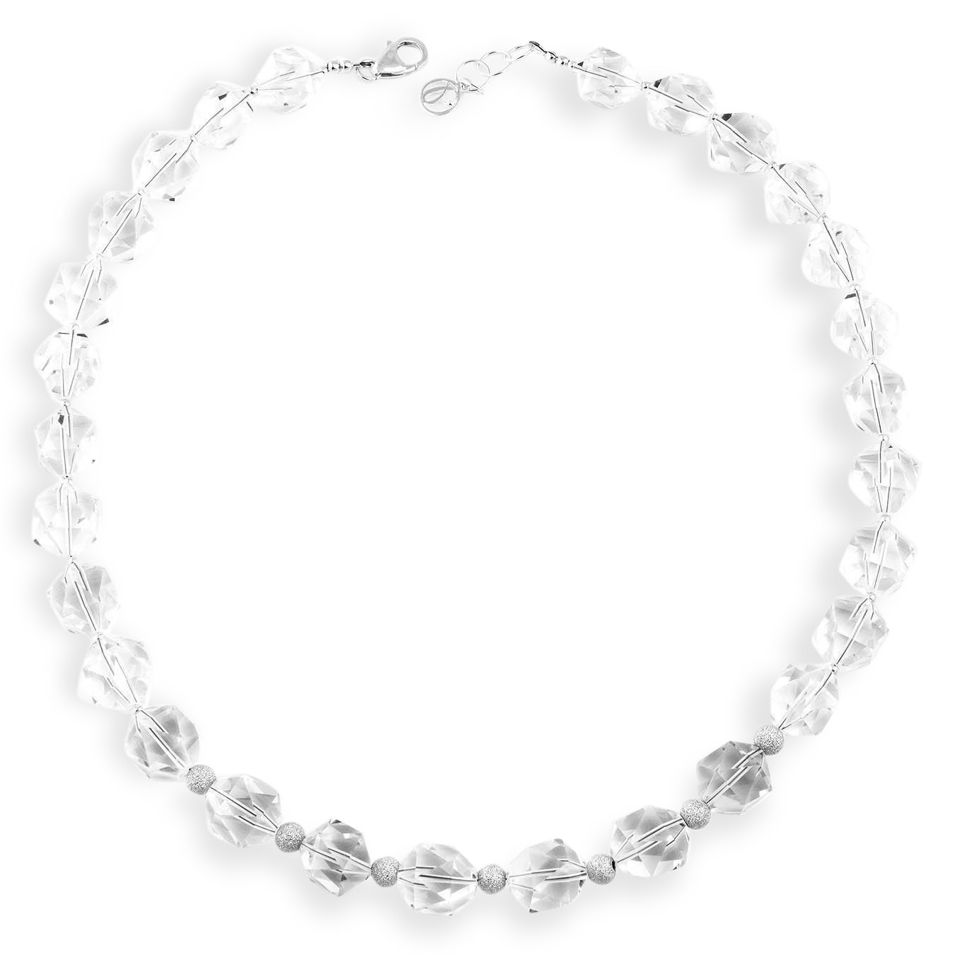 Handmade choker jewelry necklace made of clear quartz and silver beads
