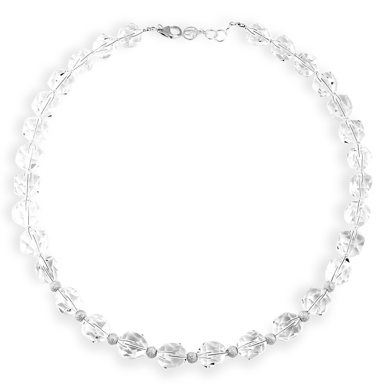 Handcrafted birthstone necklace made of rock crystal stones and silver