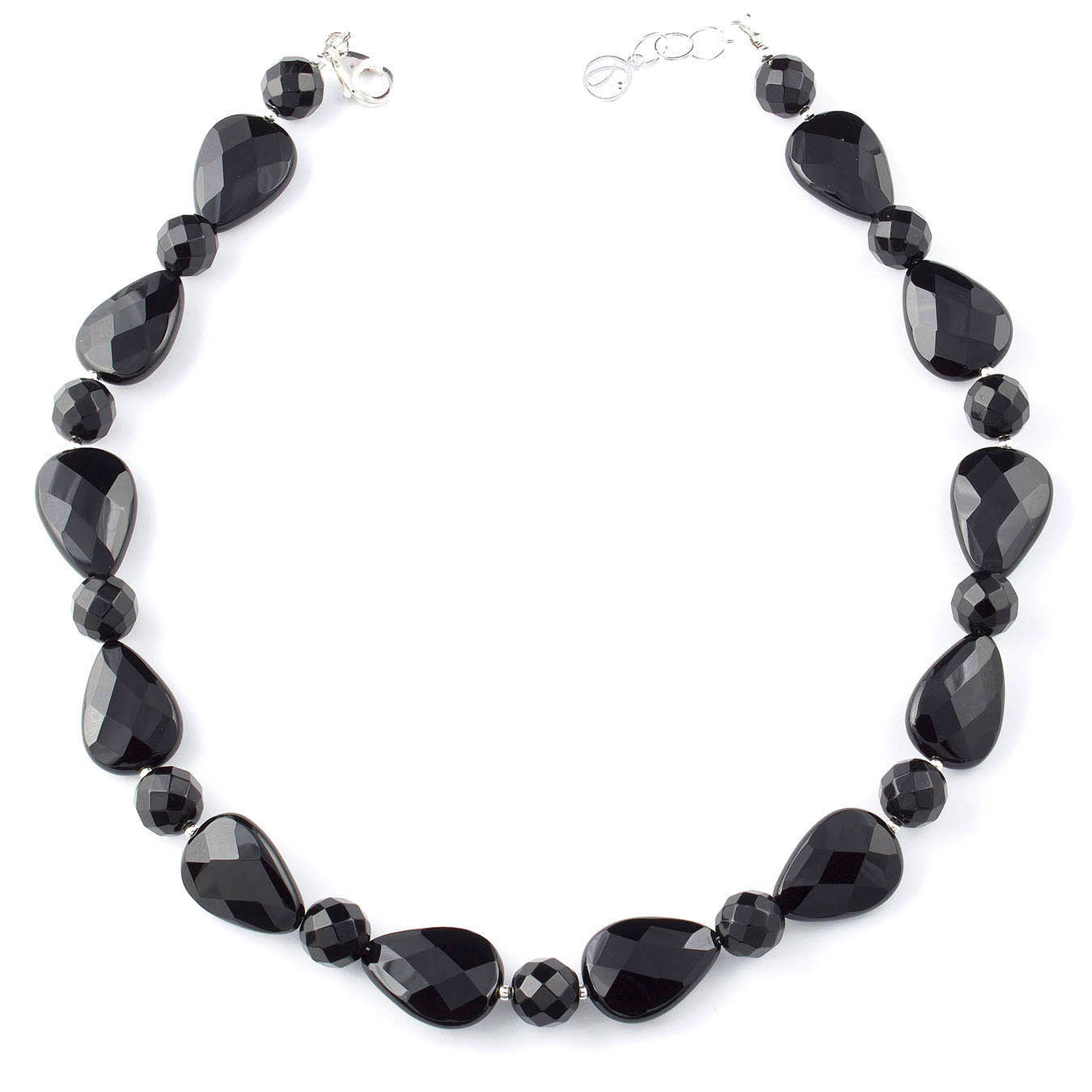 Beaded jewelry necklace made with faceted teardrop black agate