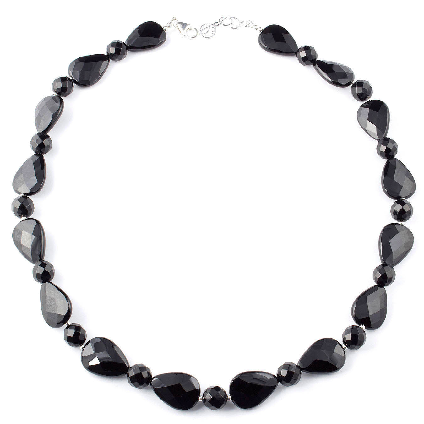 Handcrafted choker style bead necklace made with faceted black agate