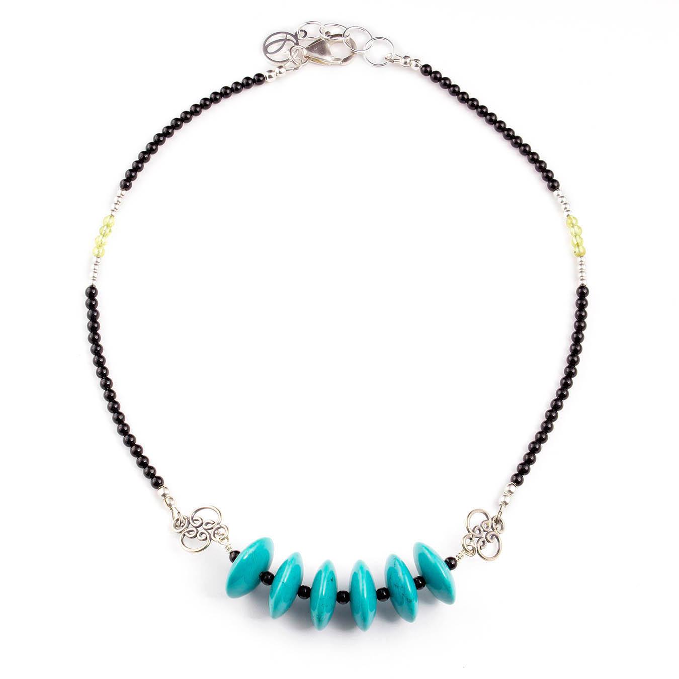 Handmade birthstone jewelry made of turquoise, peridot and bali