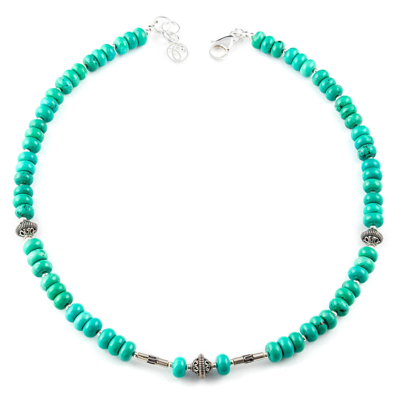 Birthstone choker necklace made of turquoise and bali silver