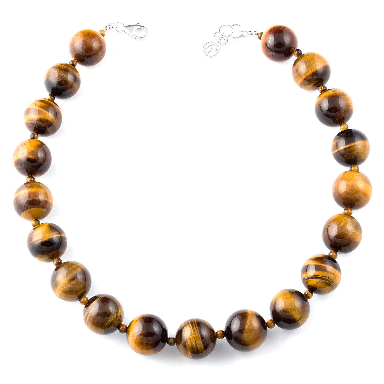 Bold beaded jewelry necklace made with tiger eye gemstone