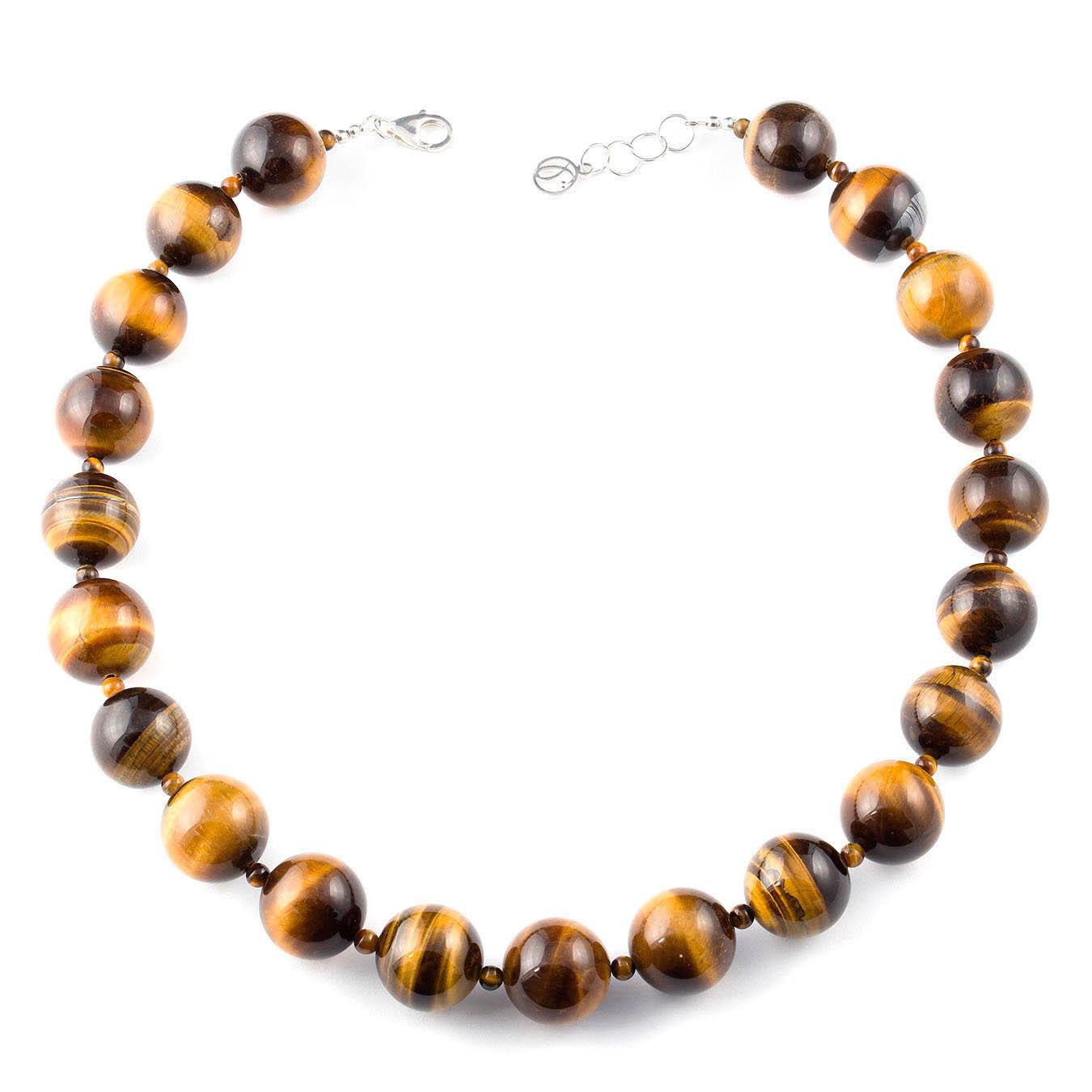 Handmade bold jewelry necklace made with tiger eye gemstone beads