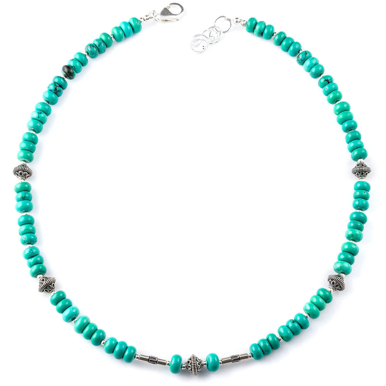Beaded December birthstone jewelry with turquoise and bali beads