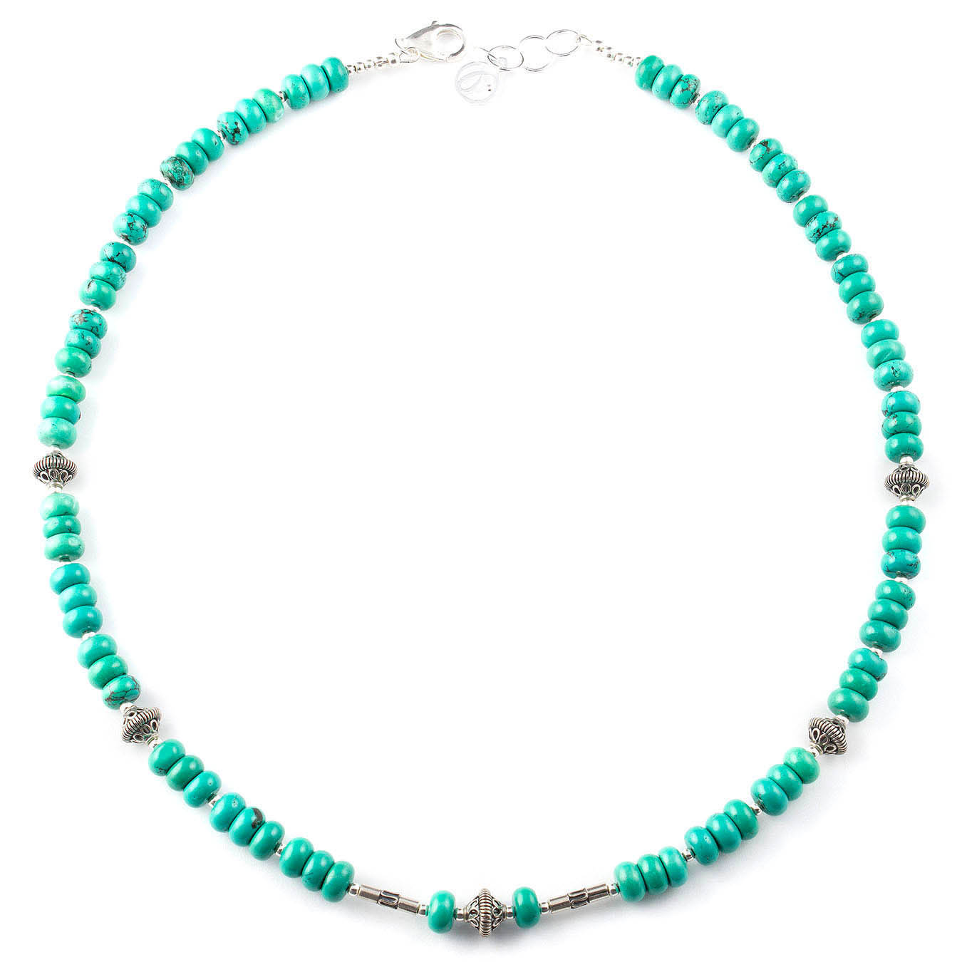 Handmade December birthstone jewelry with turquoise and bali silver