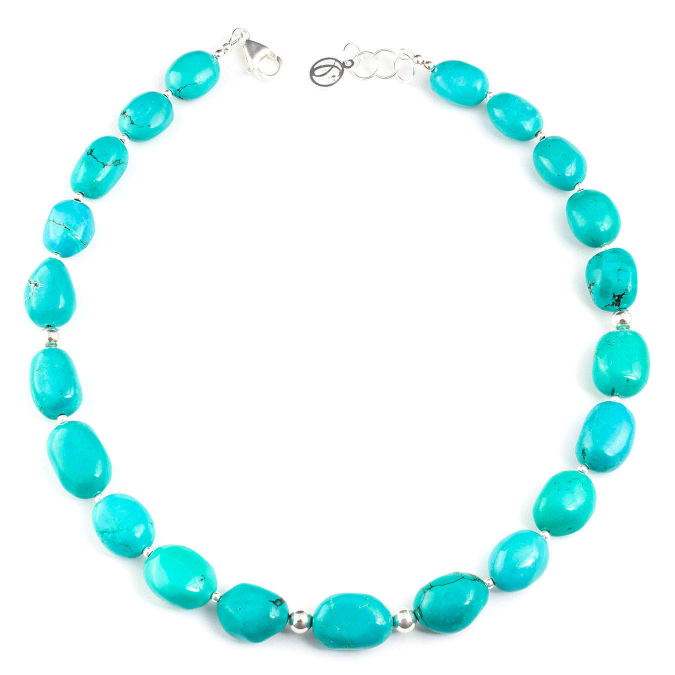 Chunky birthstone necklace set made with turquoise nuggets and silver