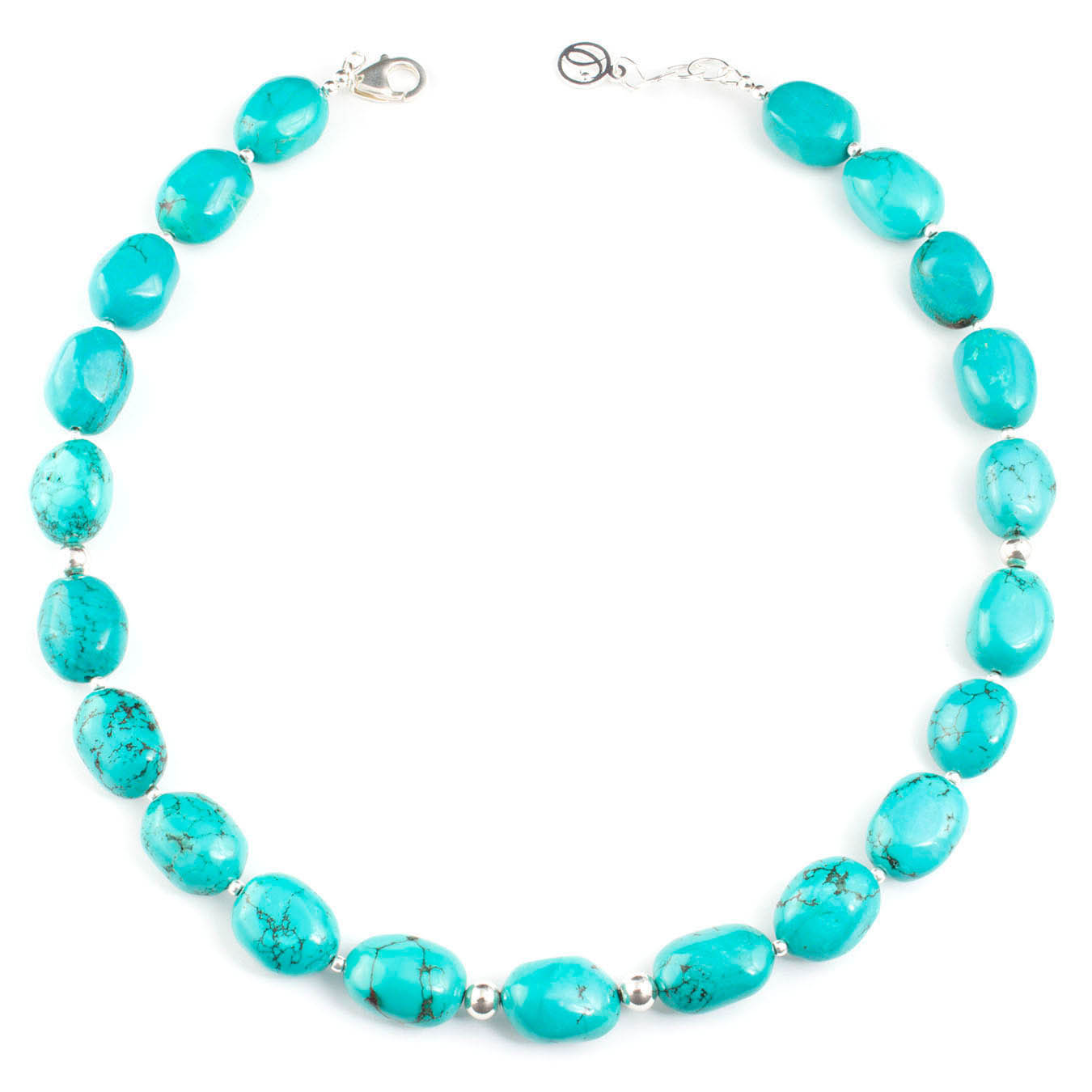 Artisan birthstone necklace made of turquoise nuggets and silver