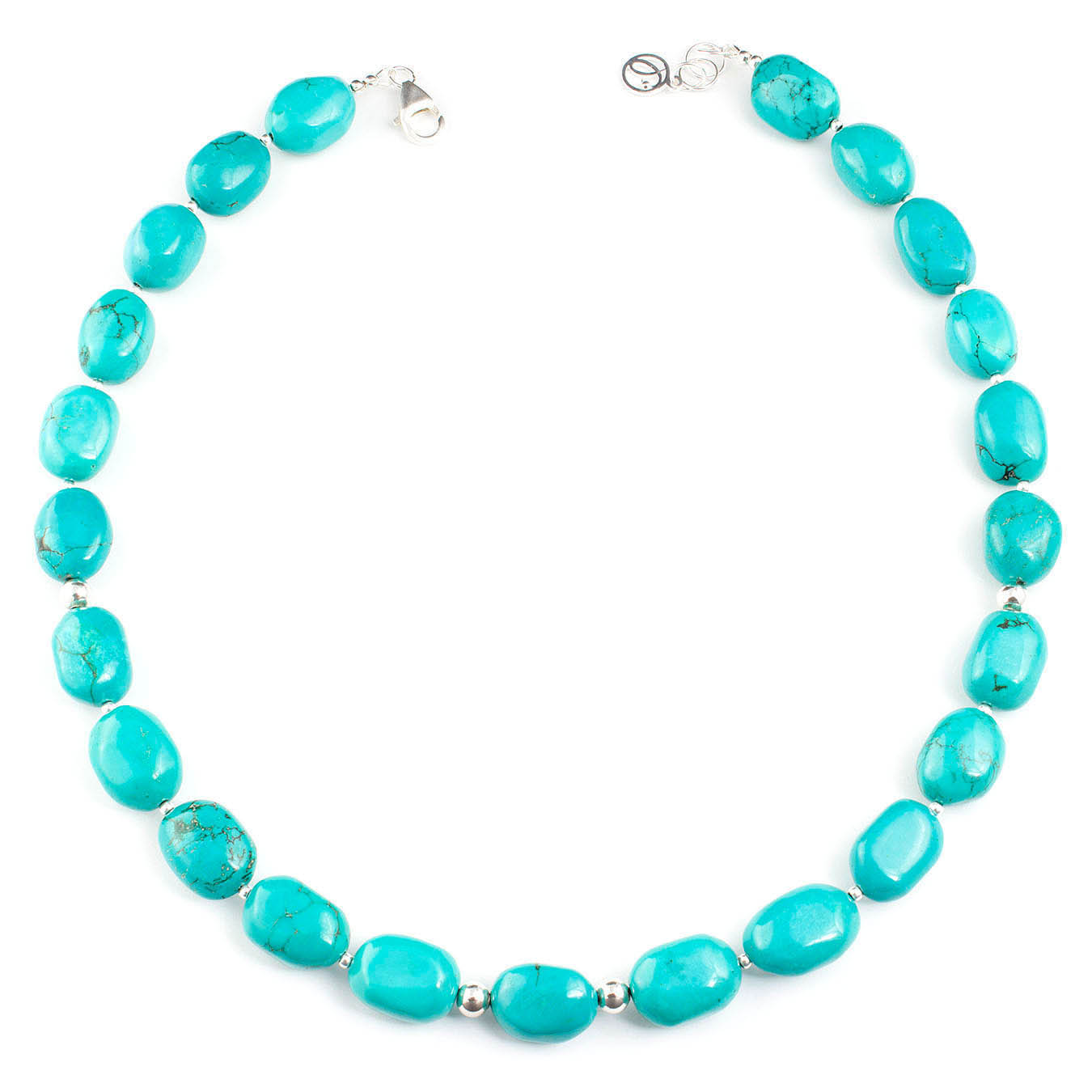 Handmade birthstone necklace made with turquoise and 925 silver beads