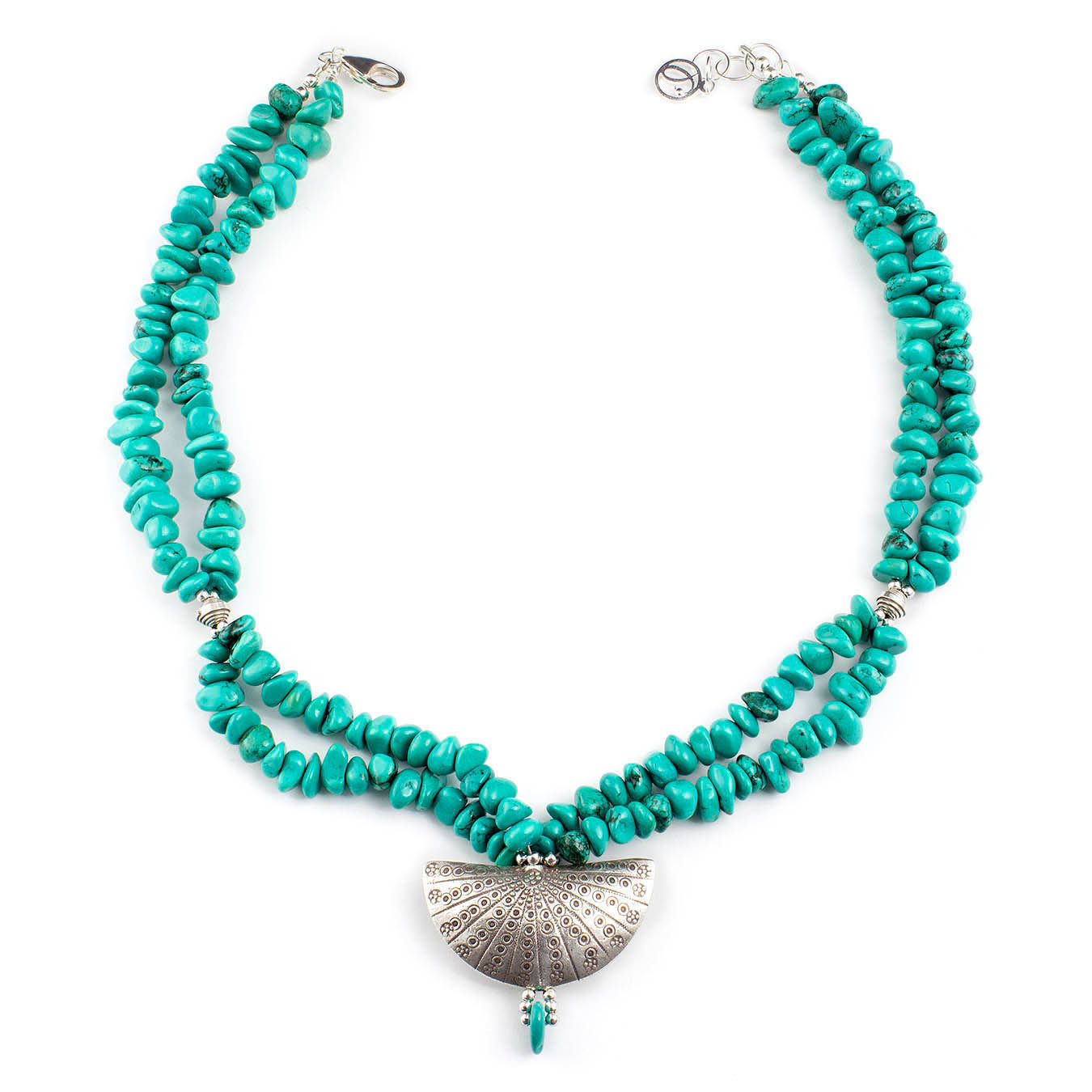 Double strand birthstone necklace made of turquoise and Thai silver