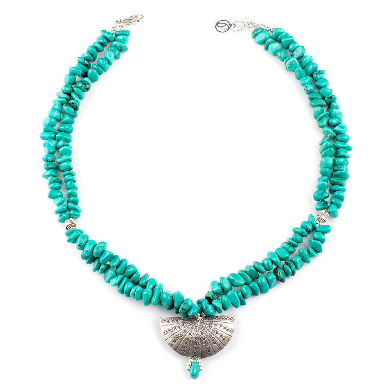 Beaded December birthstone jewelry with turquoise and Thai pendant