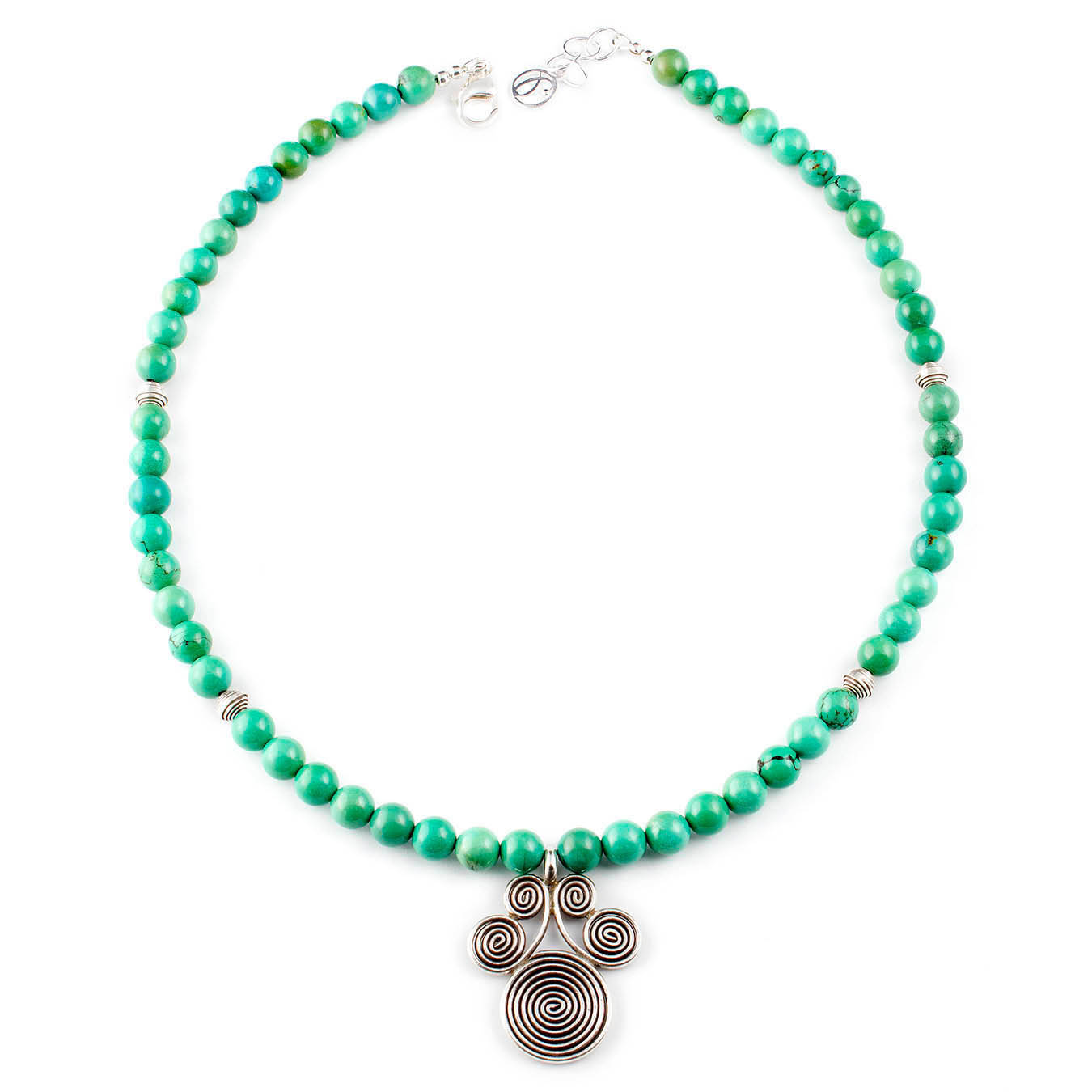 Birthstone necklace beaded with turquoise and thai silver pendant