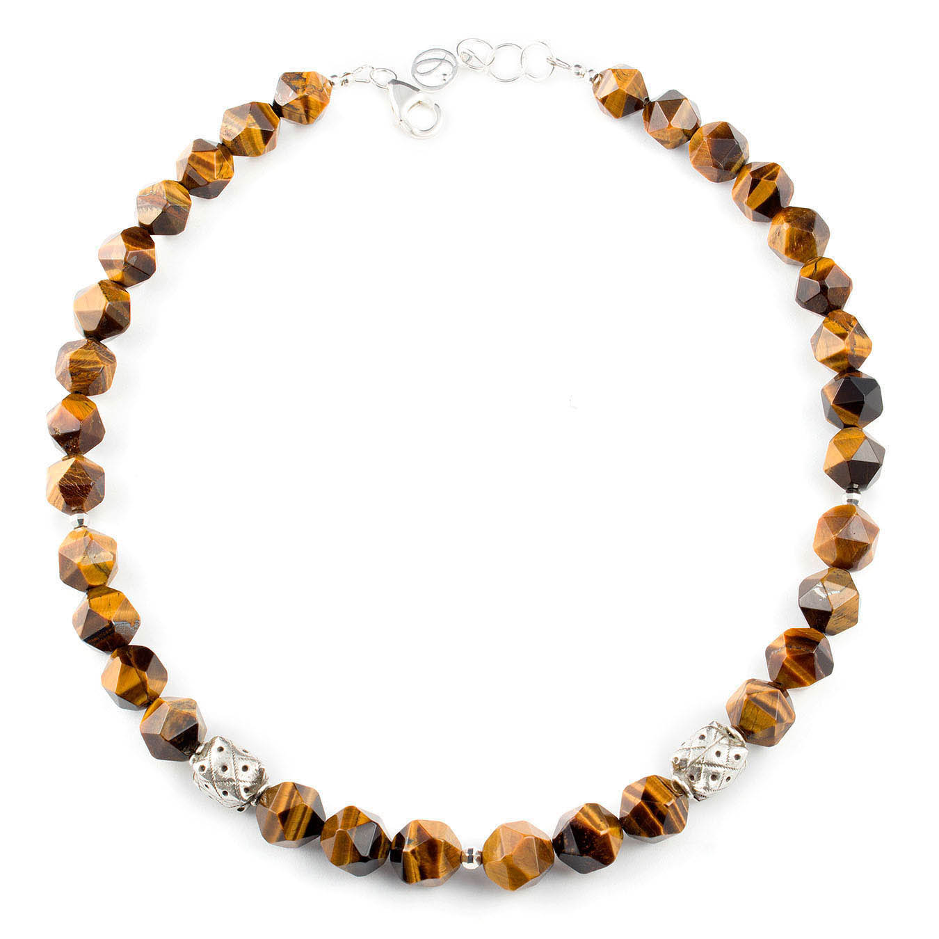 Bold necklace set made with faceted brown tiger eye and thai silver