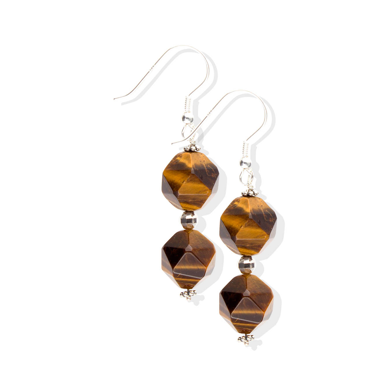 Handcrafted bold bead jewelry made of faceted tiger eye and Karen hill