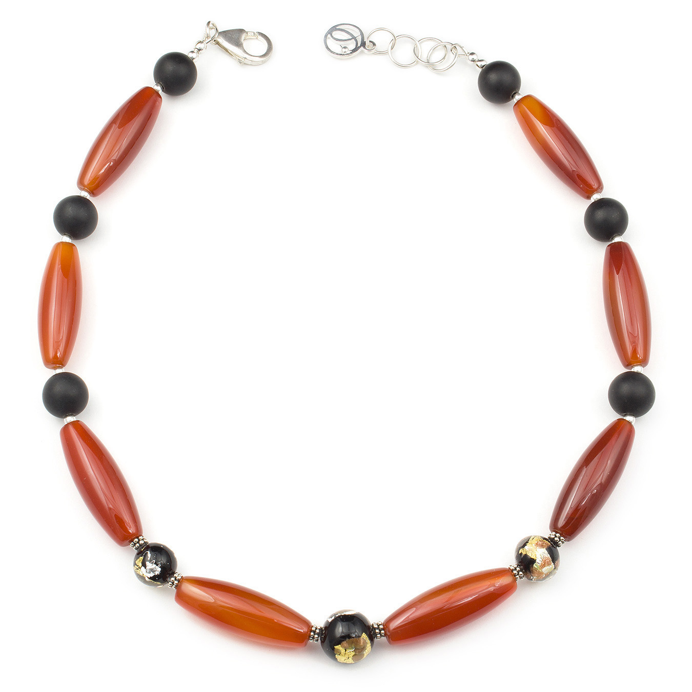 Create your own necklace with jasper, red and black agate and Murano