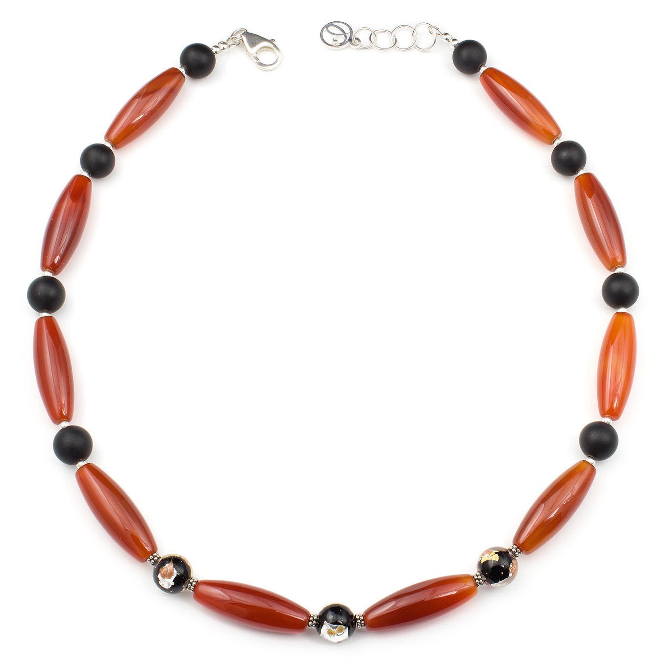 Custom necklace with jasper, agate, quartz and aventurina gemstones