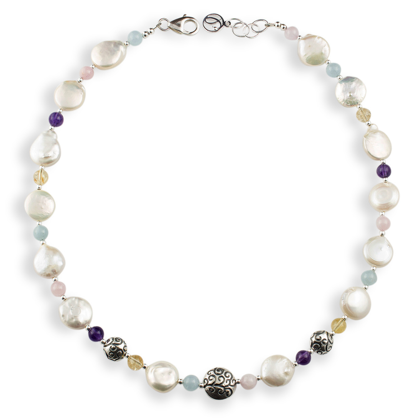Customizable necklace with choice of coin pearls and aquamarine