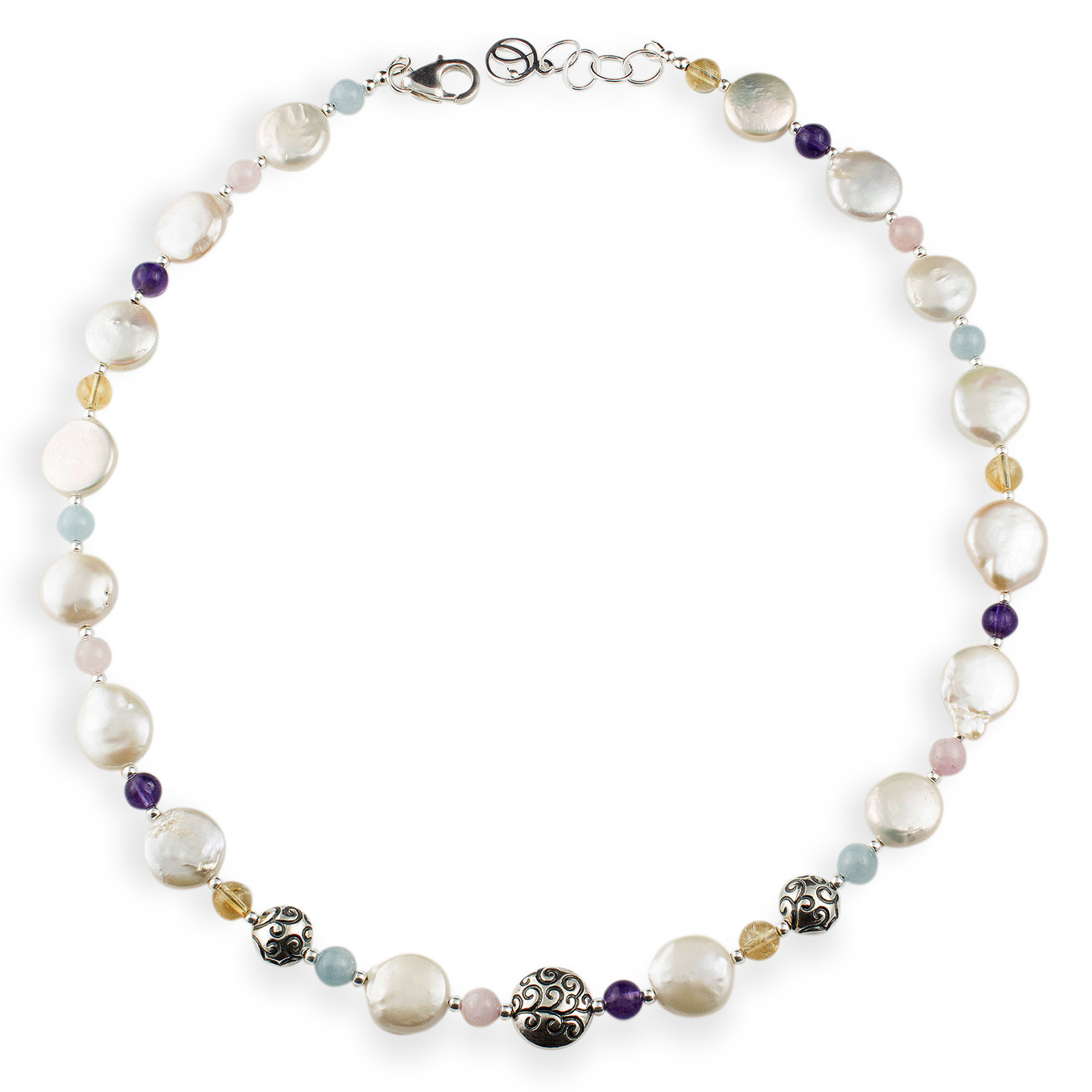 Custom birthstone necklace with cultured coin pearls and amethyst