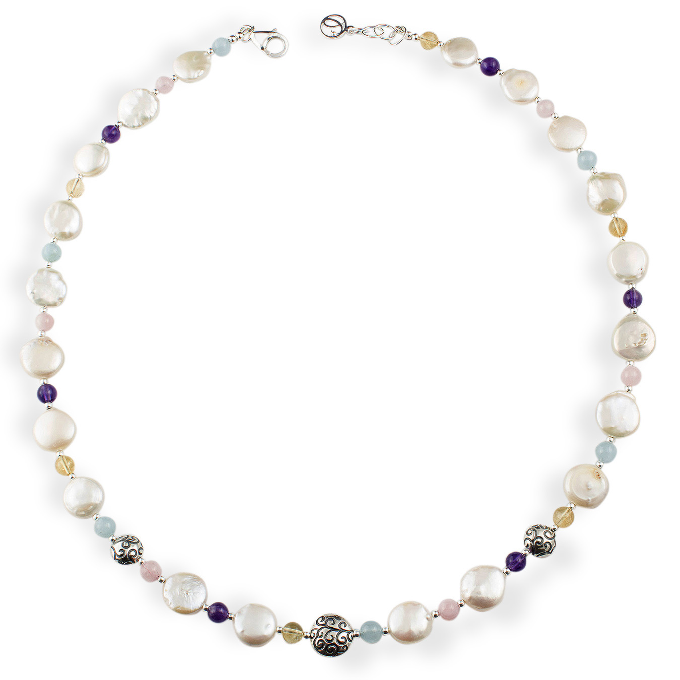 Customized necklace choice freshwater coin pearls and gemstones