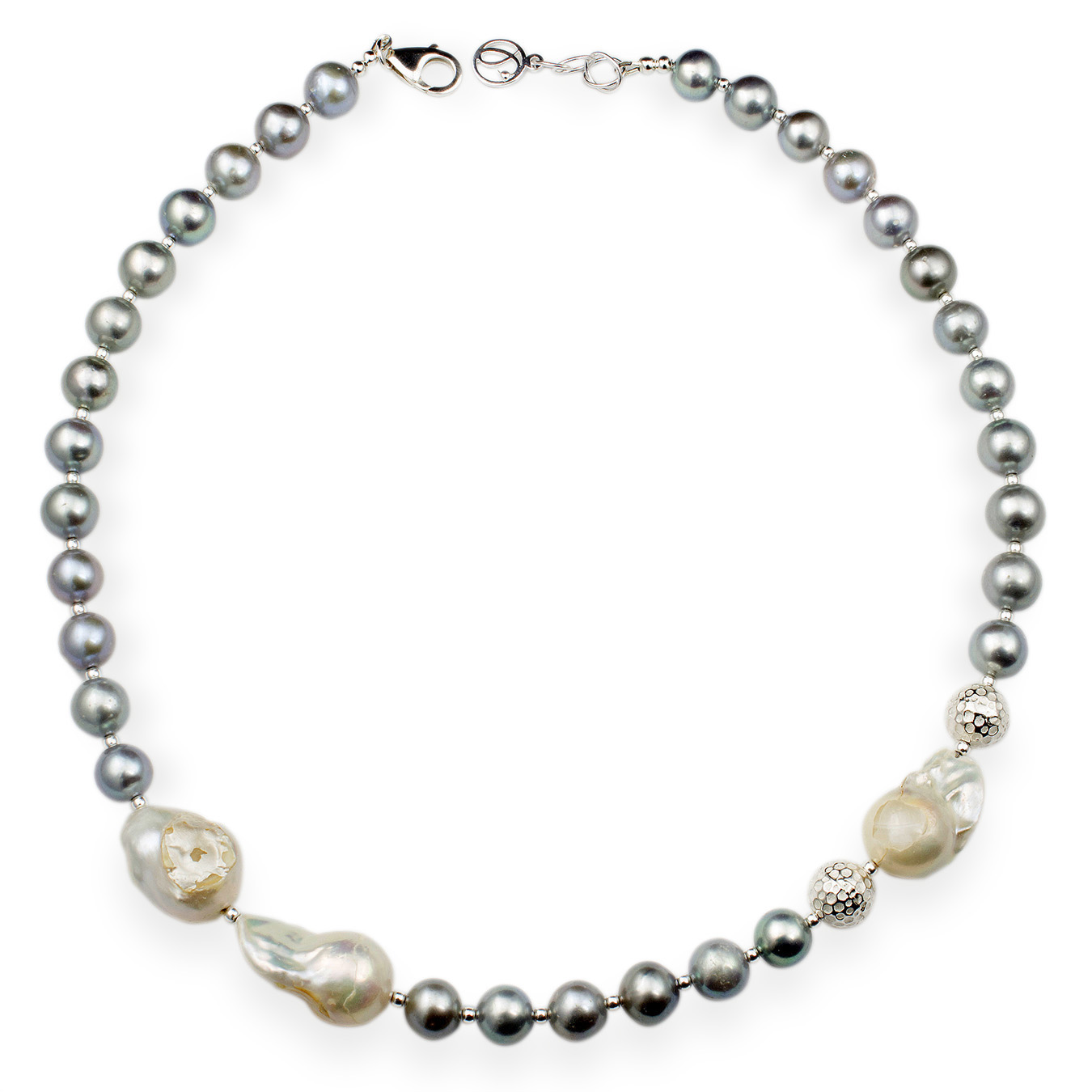 Custom necklace with choice of cultured AA pearls and nucleated bead
