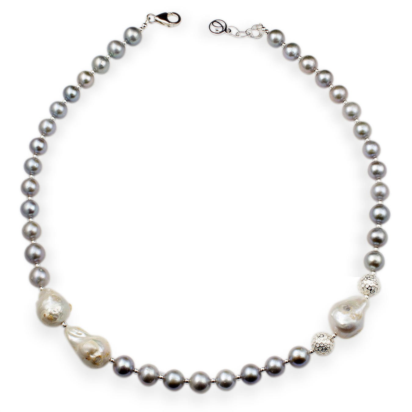Personalized pearl necklace with choice of round and nucleated pearls