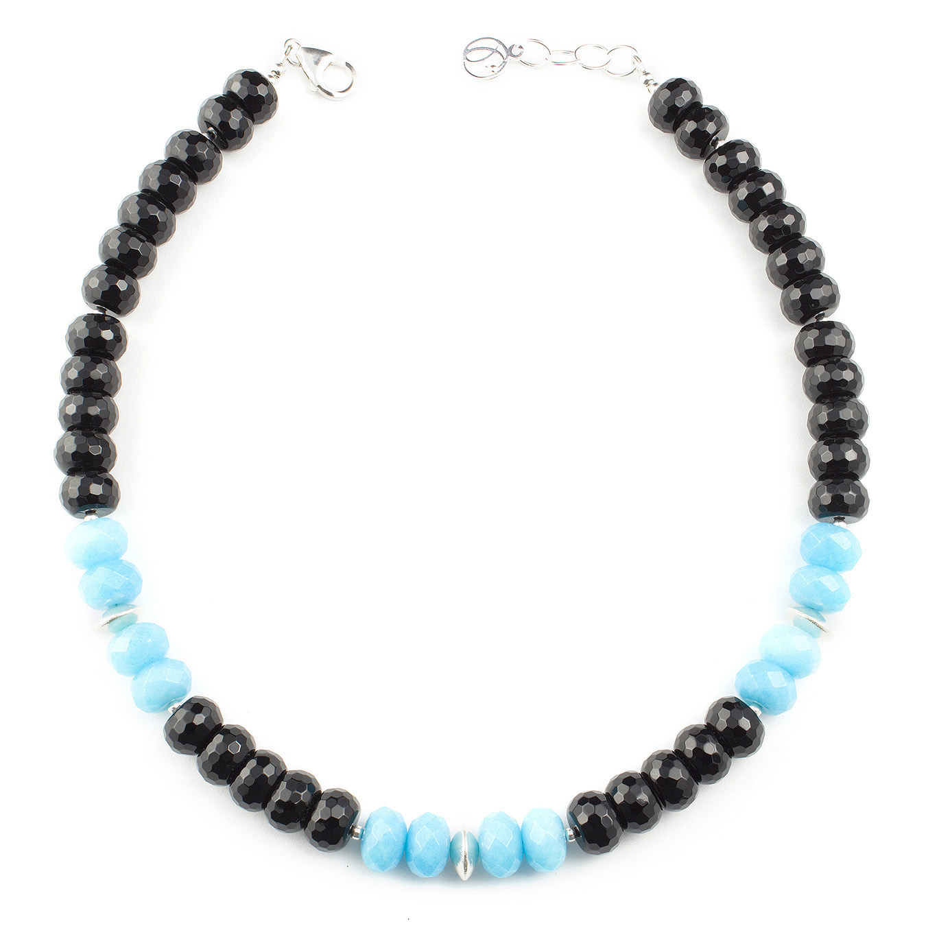 Customizable Thai silver choker necklace using black and blue jade