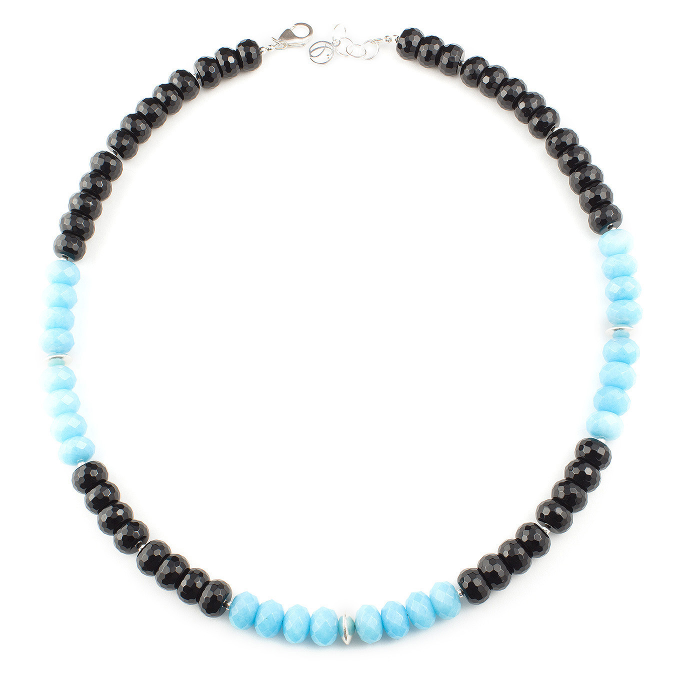 Customized semi-precious gemstone necklace using multi-color jade