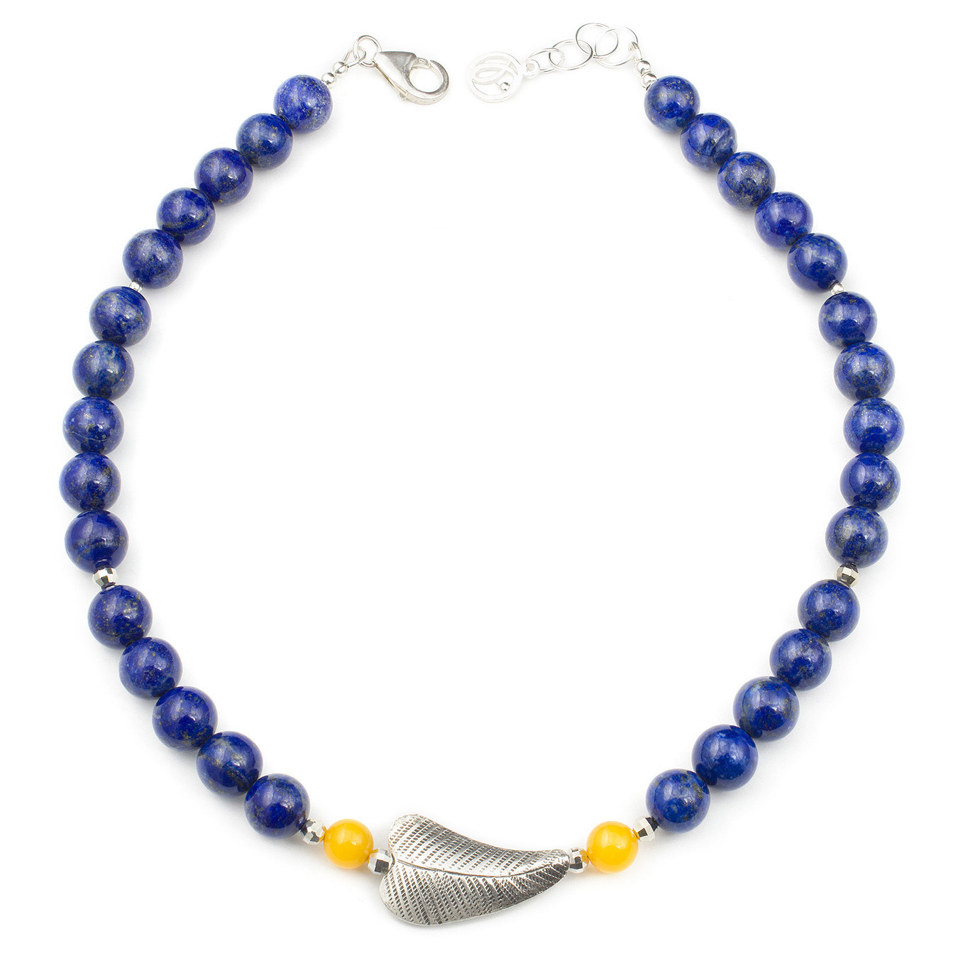 Create your own lapis station necklace with choice of amber and topaz