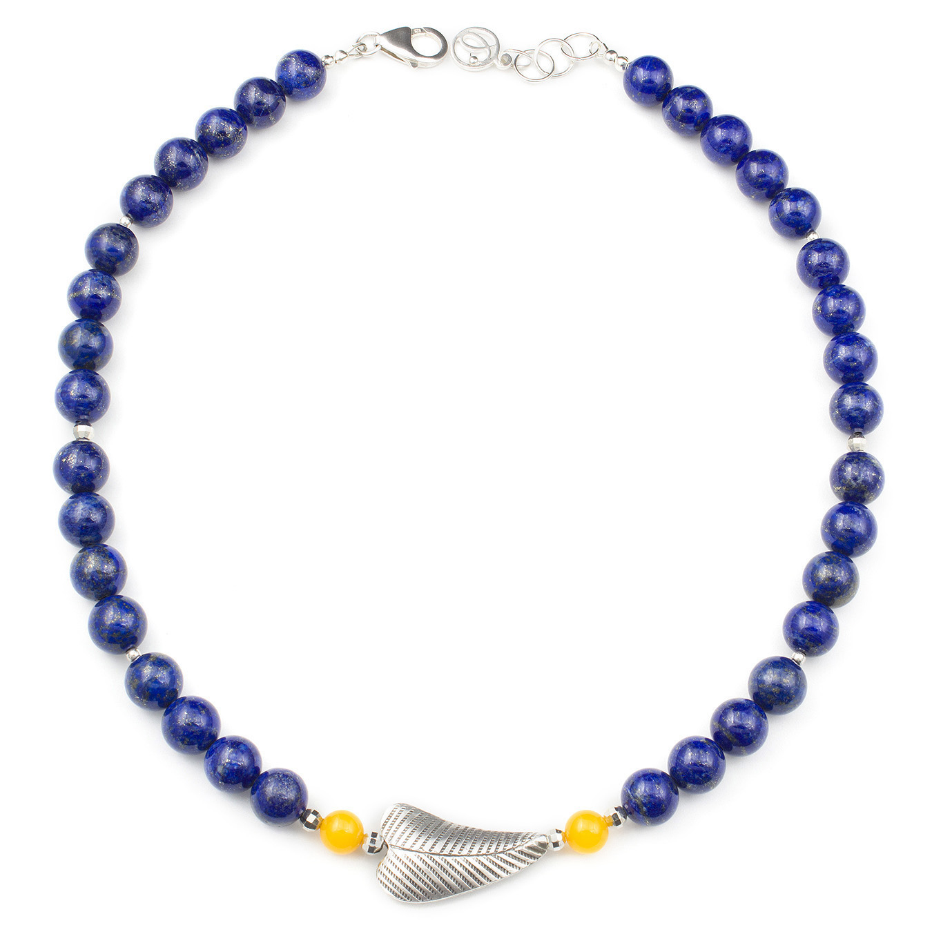 Customizable necklace with thai silver, lapis, amber and rose quartz