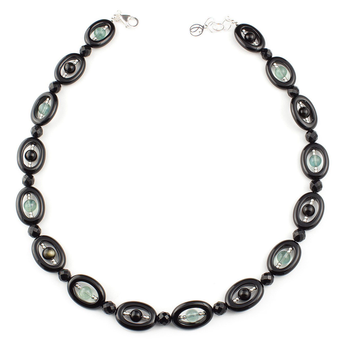 Personalized artisan choker necklace using obsidian gemstones