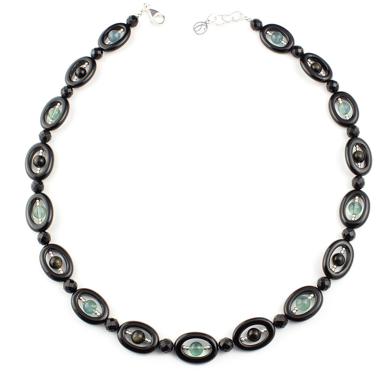 Customized semi-precious gemstone necklace using agate beads