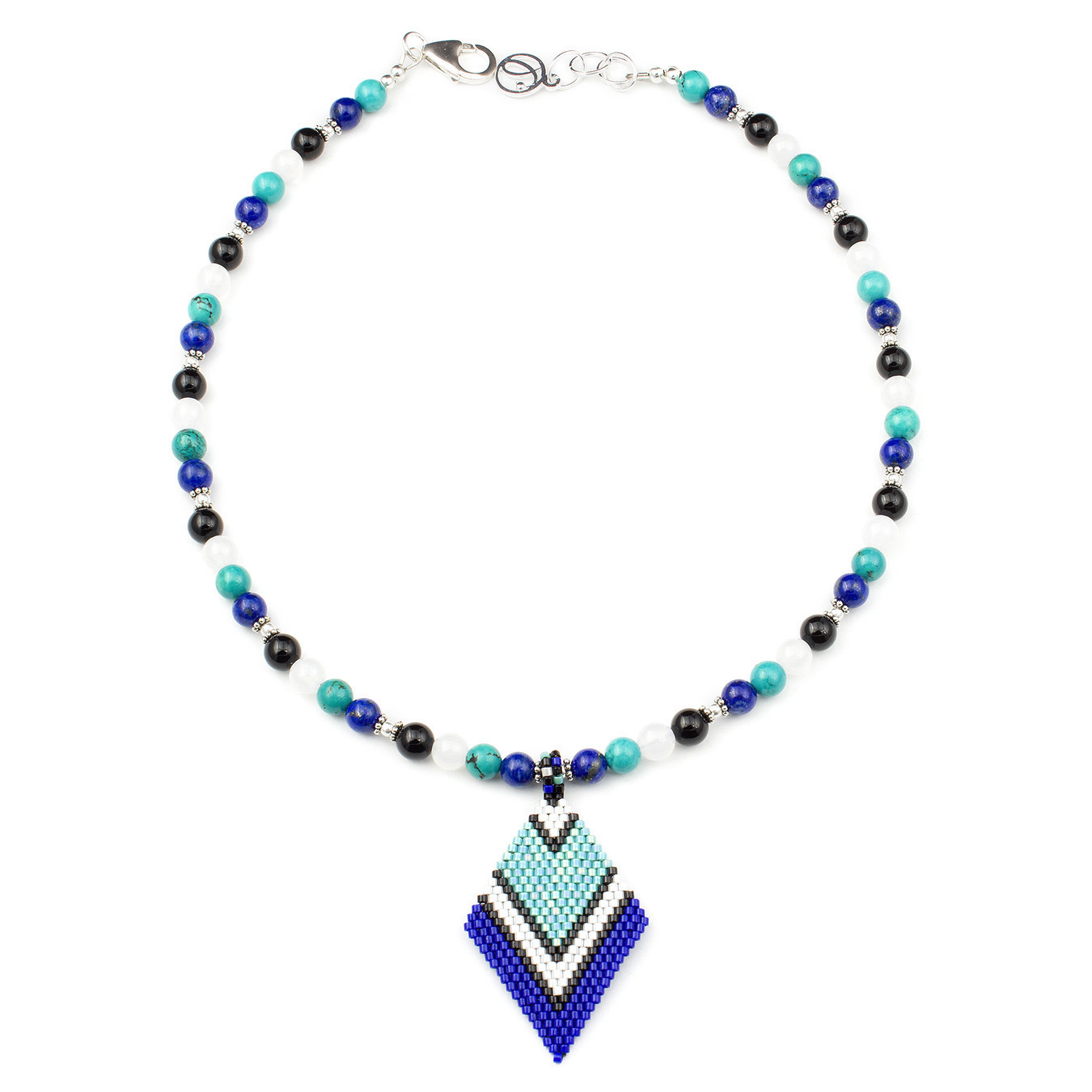 Create your own miyuki necklace with agate, lapis, and turquoise