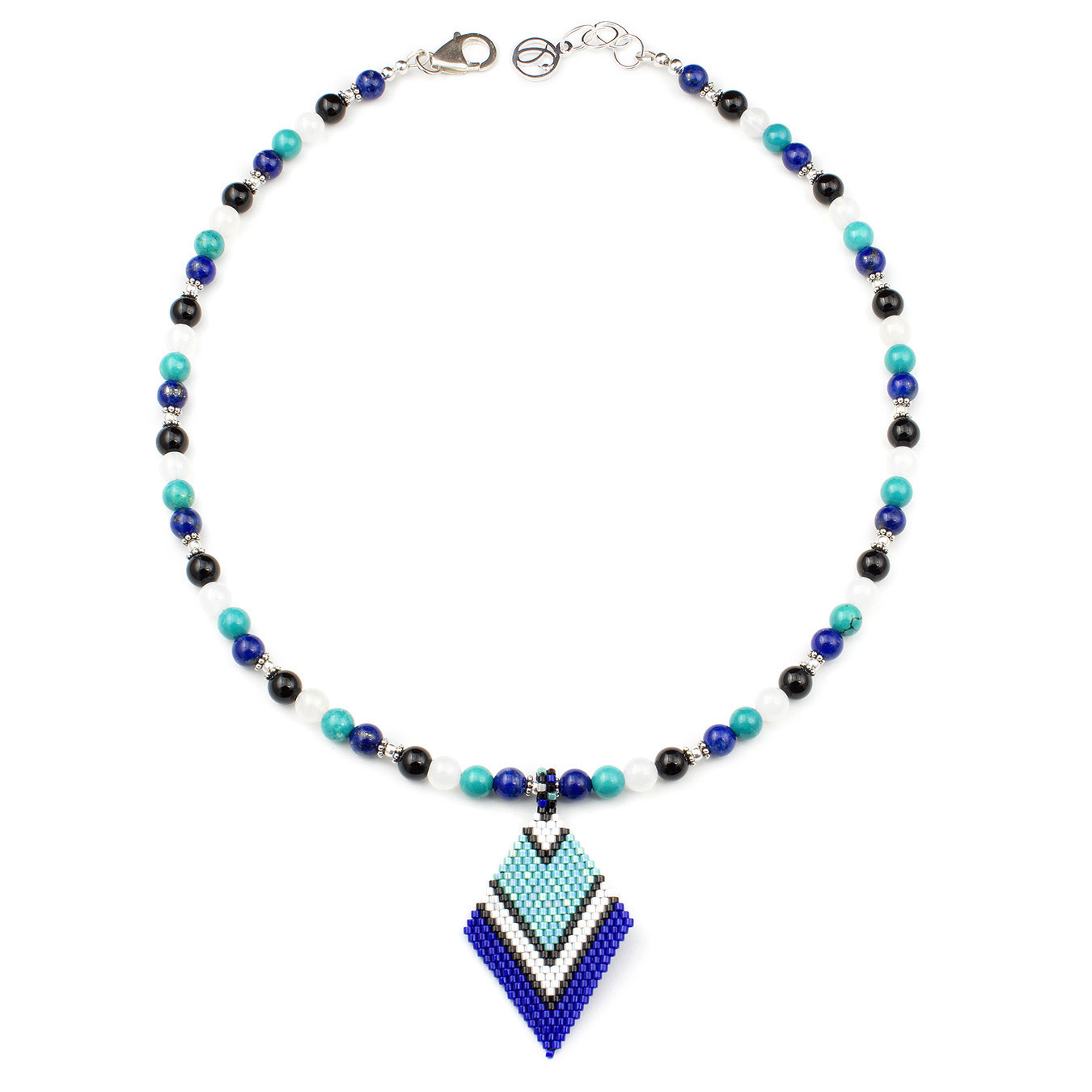 Customizable delica pendant necklace with agate, lapis, and turquoise