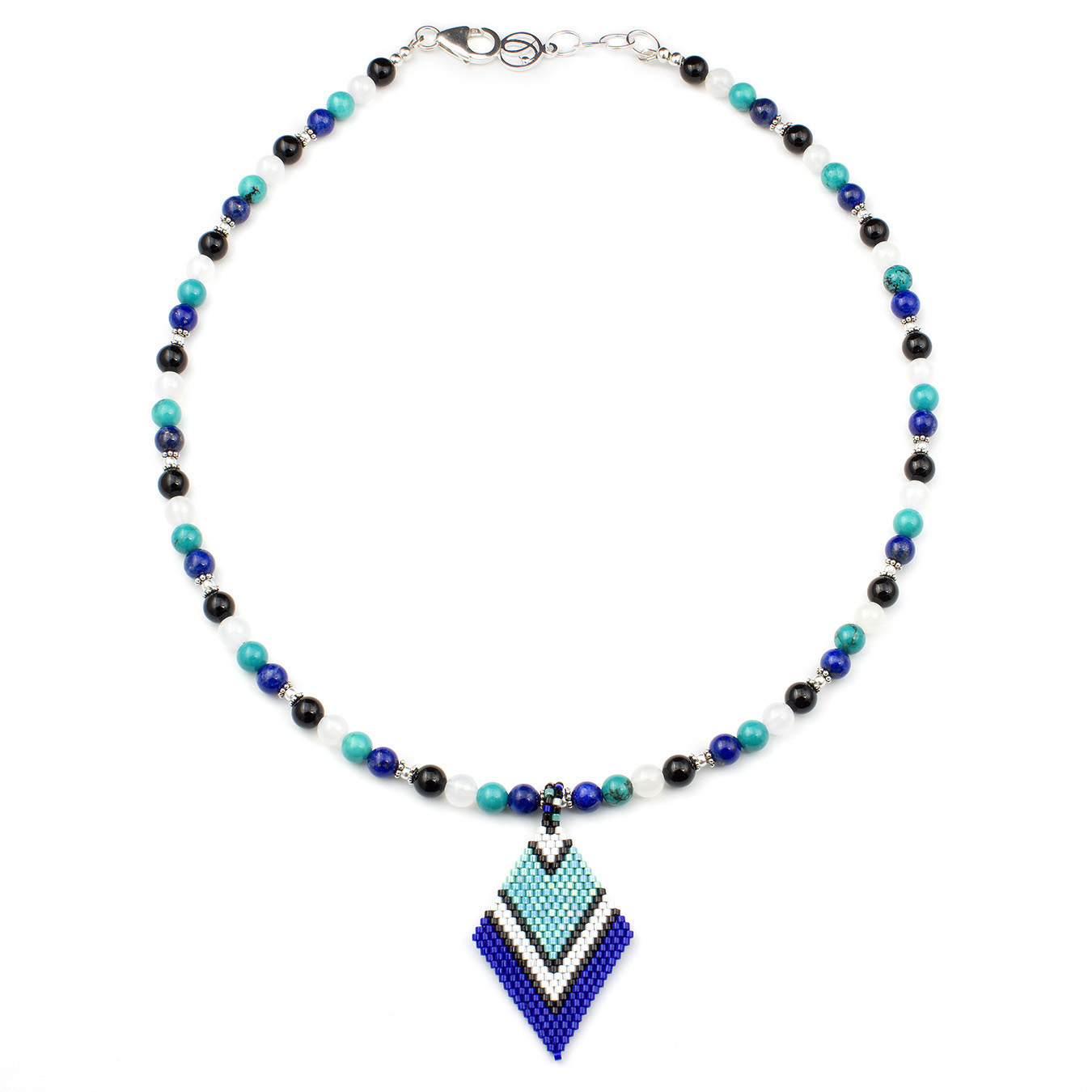 Custom seed bead necklace made with agate, lapis, and turquoise
