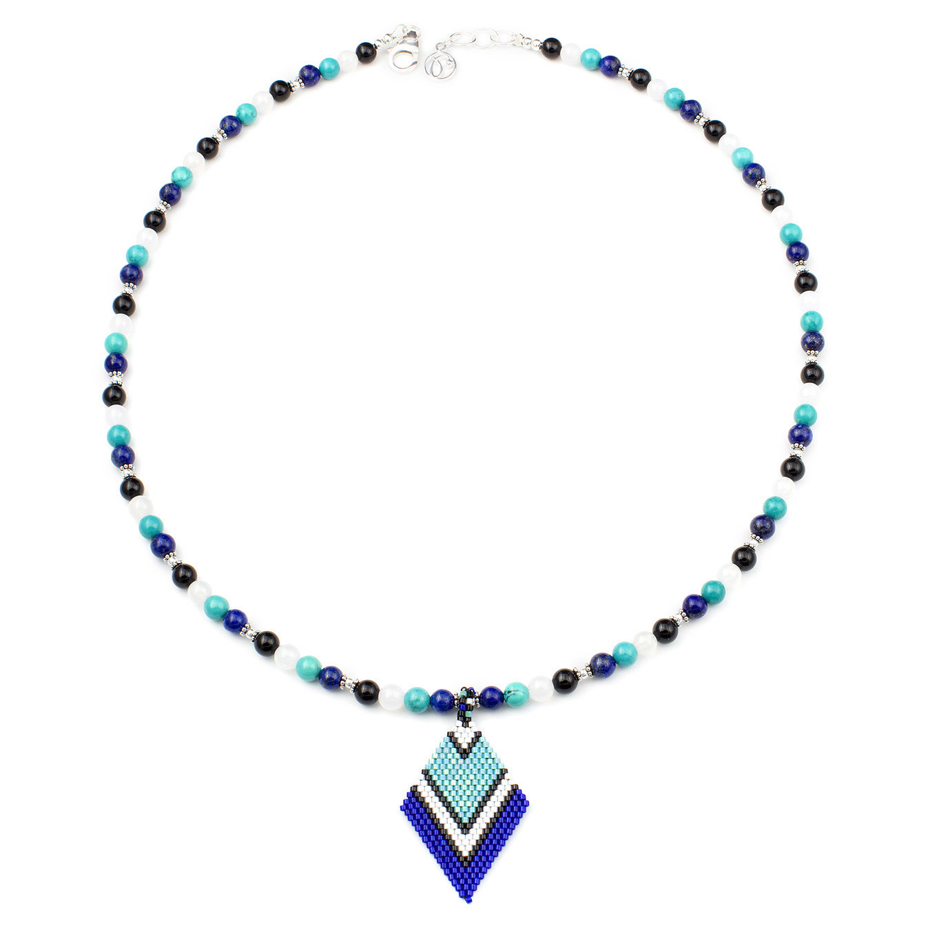 Customized seed bead pendant necklace using multi-color gemstone beads