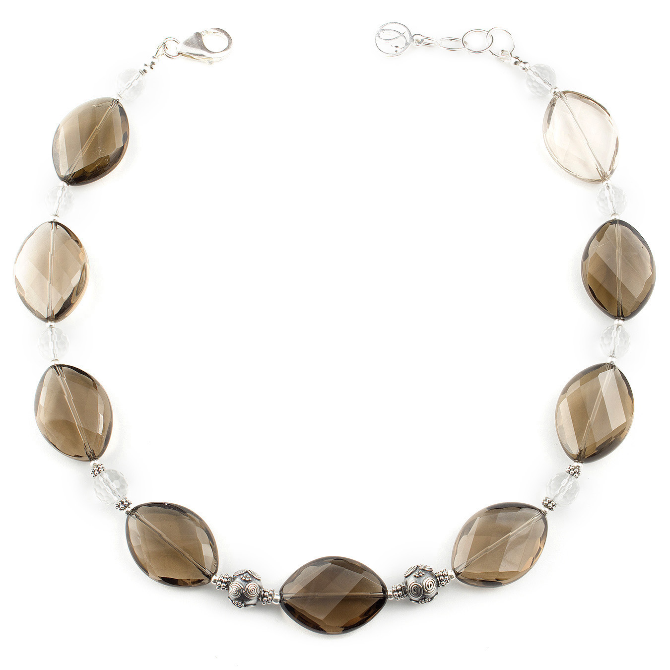 Create your own Bali necklace with citrine, smoky and clear quartz