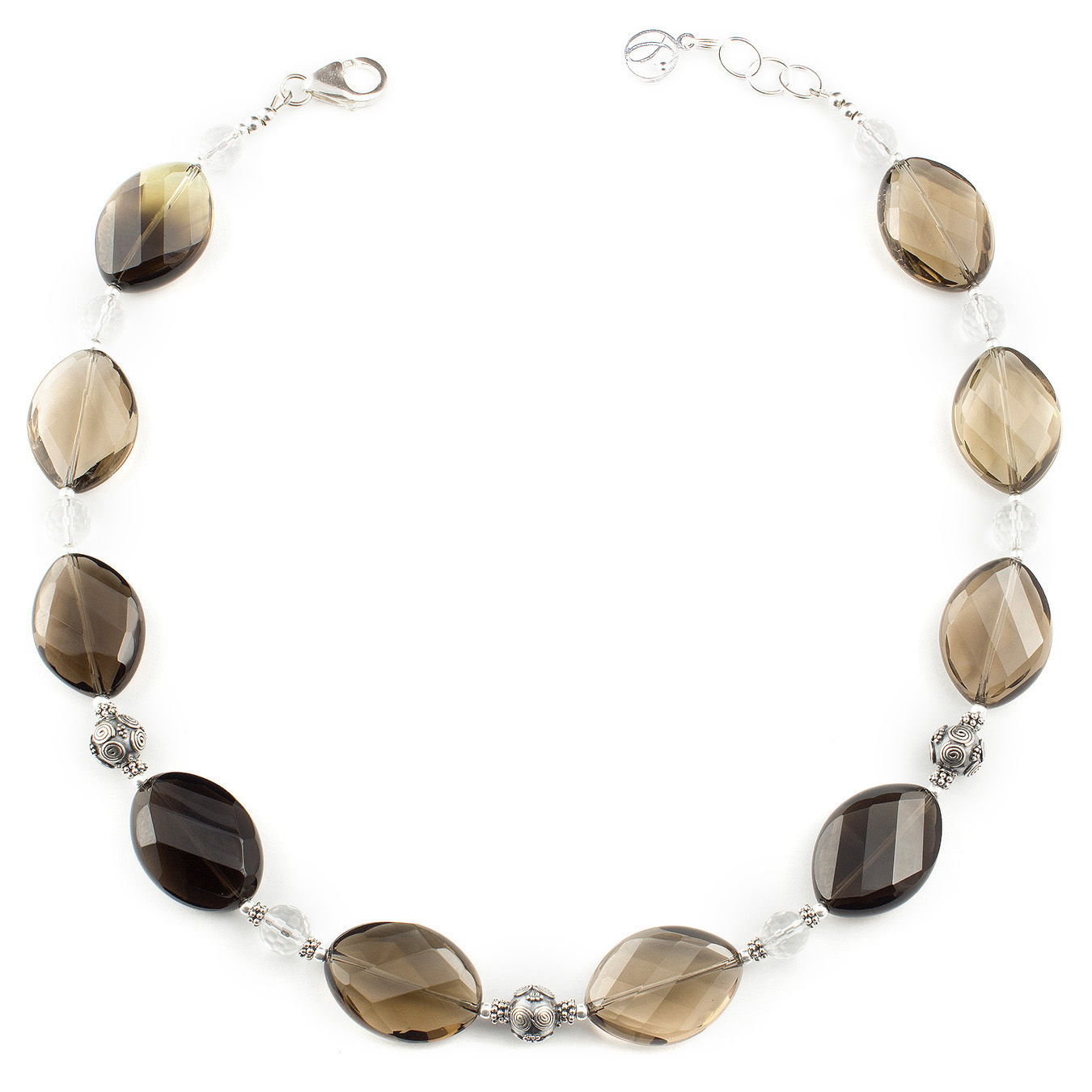 Customizable station necklace using citrine, smoky and clear quartz