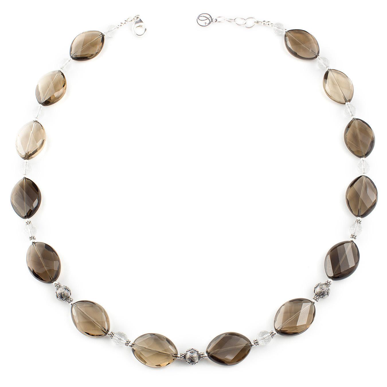 Customized semi-precious gemstone necklace using citrine and smoky