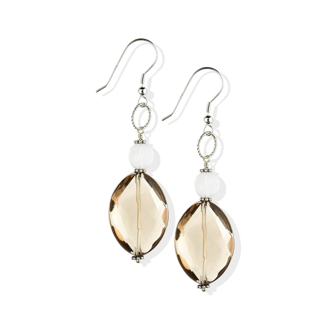 Custom necklace made using citrine, smoky and clear quartz gemstones
