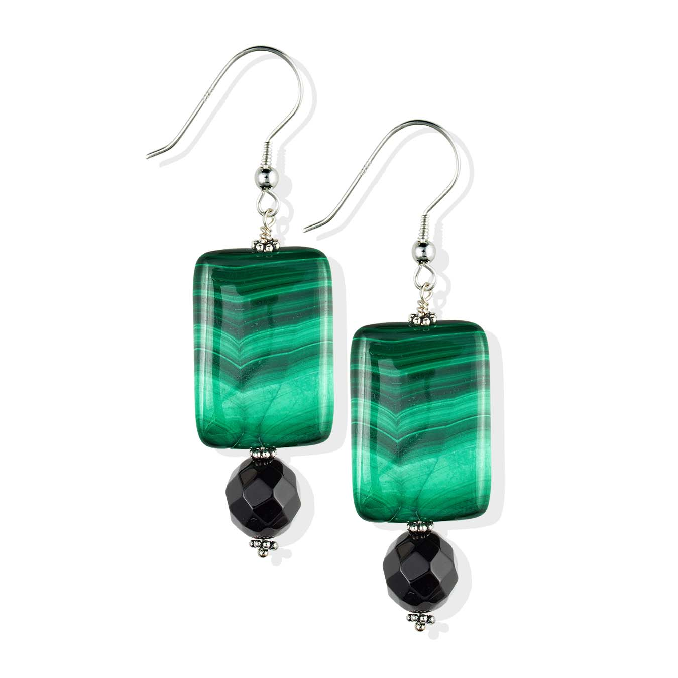 Customizable choker necklace using black agate and green malachite