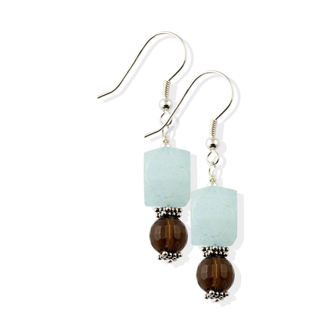 Beaded jewelry necklace made of semiprecious aquamarine, smoky quartz