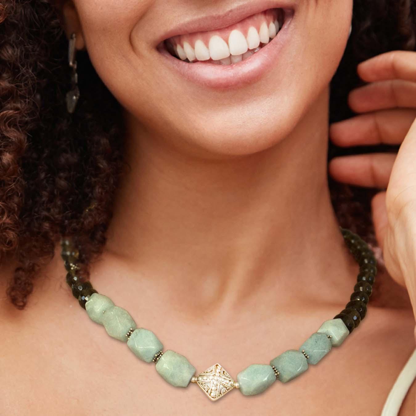 Aquamarine and smoky quartz handmade jewelry necklace with bali beads