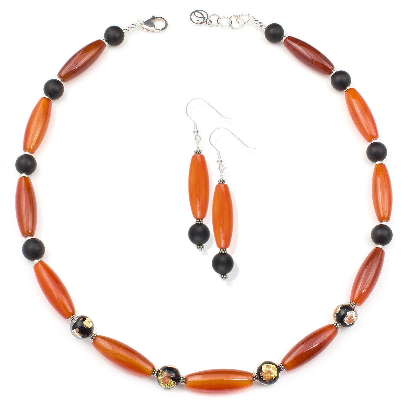 Personalized necklace with jasper, agate, quartz and murano gemstones